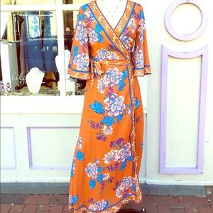Flying Tomato Orange Floral Maxi Wrap Dress Size L